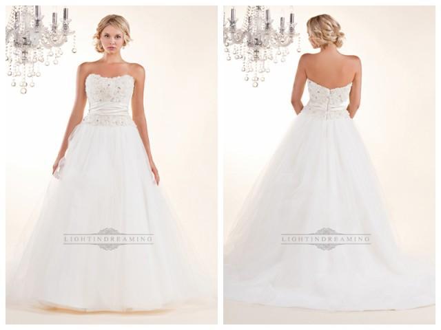 wedding photo - Strapless A-line Wedding Dresses with Rosette Swirled Embellishment Bodice