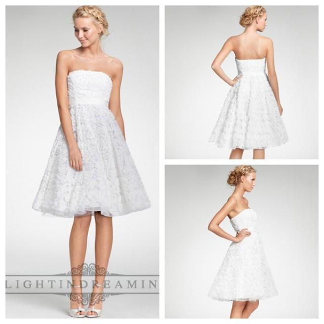 wedding photo - Strapless A-line Embroidered Tea Length Strapless Wedding Dresses