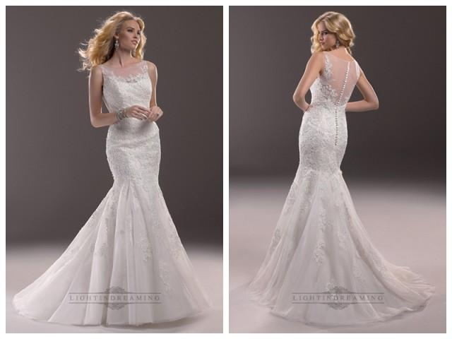 wedding photo - Fit and Flare Illusion Bateau Neckline Lace Wedding Dresses with Illusion Back