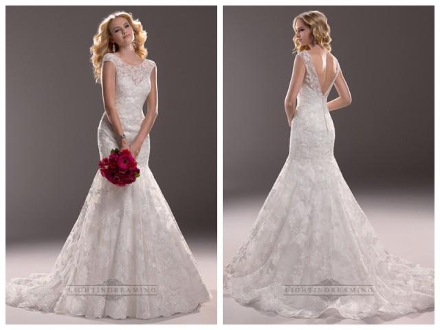 wedding photo - Cap Sleeves Illusion Bateau Neckline Mermaid Lace Wedding Dresses