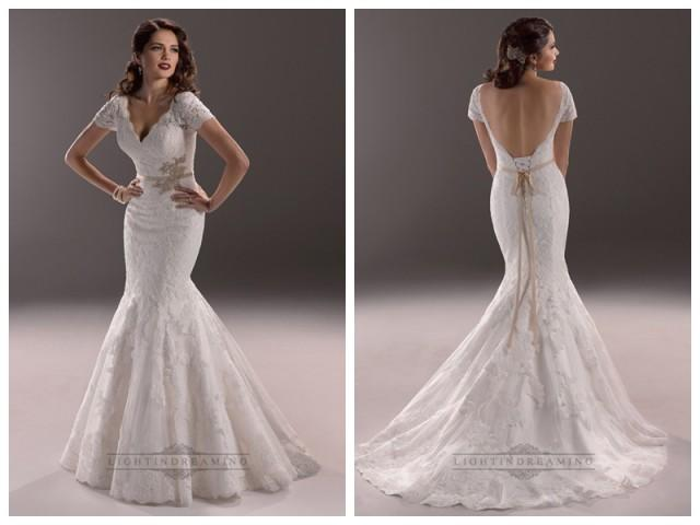 wedding photo - Elegant Plunging V-neck Short Sleeves Mermaid Open Back Wedding Dresses