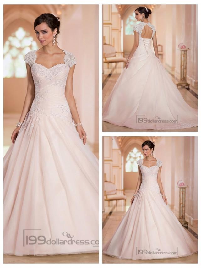 wedding photo - Cap Sleeves Sweetheart A-line Lace Appliques Keyhole Back Wedding Dresses