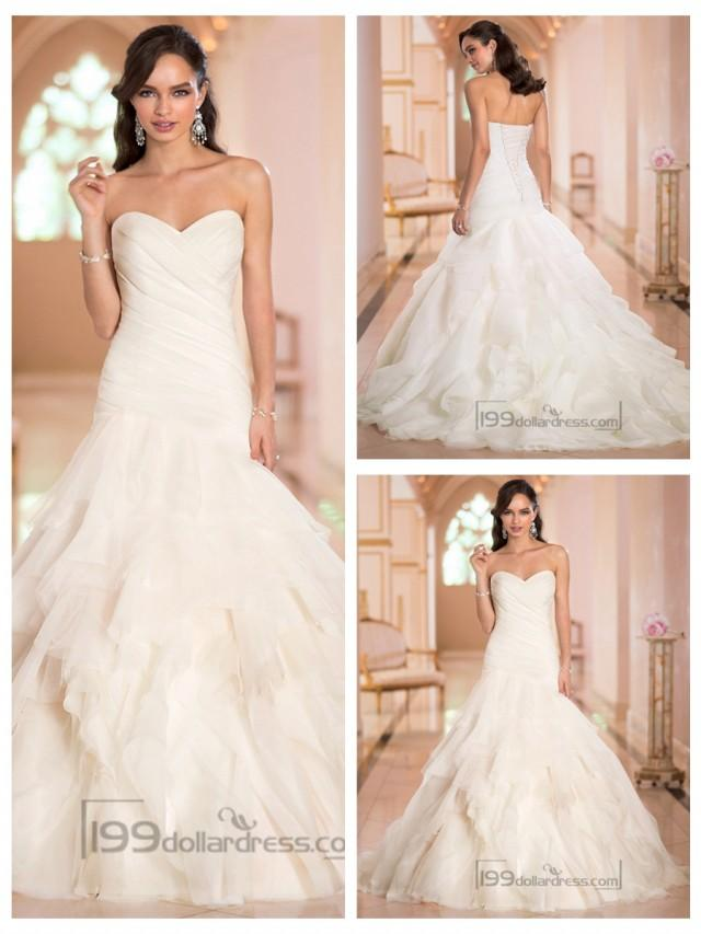 wedding photo - Sweetheart Ruched Bodice Pleated Wedding Dresses with Corset Back