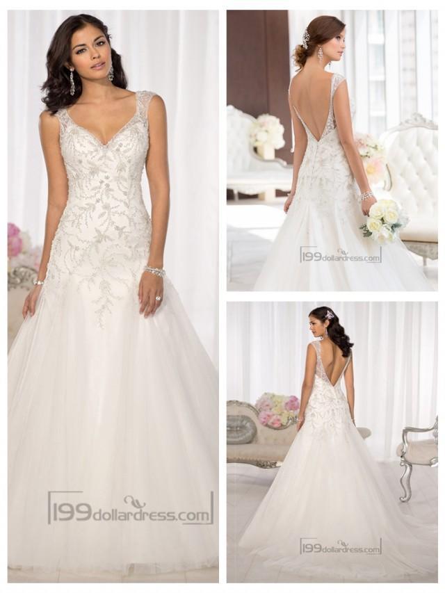 wedding photo - Elegant Beaded Cap Sleeves Sweetheart Embellished Wedding Dresses with Low V-back