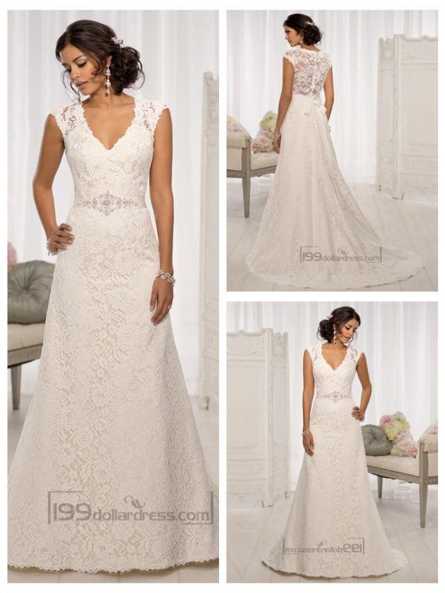 wedding photo - Elegant Cap Sleeves V-neck A-line Wedding Dresses with Illusion Back