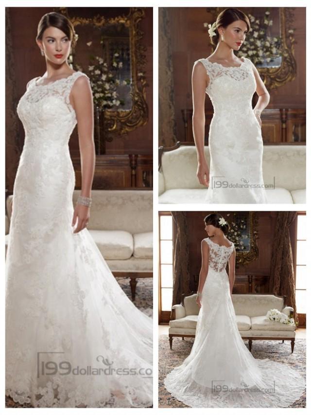 wedding photo - Straps Illusion Bateau Neckline and Back A-line Lace Appliques Wedding Dresses