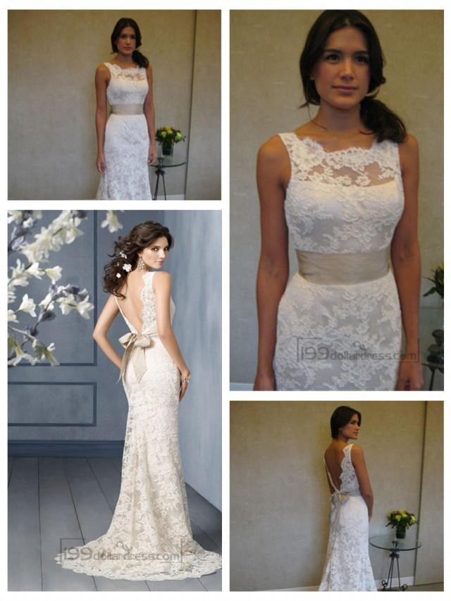 wedding photo - Scallop Bateau Neckline A-line Lace Open Back Wedding Dresses with Sweep Train