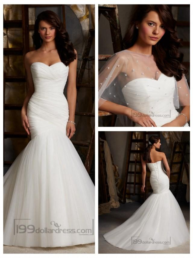 wedding photo - Fit and Flare Strapless Criss-cross Pleated Sweetheart Wedding Dresses