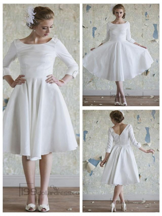 Classic vintage a line 3 4 length sleeves tea length for Wedding dresses tea length with sleeves