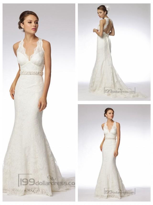 wedding photo - Trumpet Embroidered Lace Halter V-neck Wedding Dresses with Keyhole Back