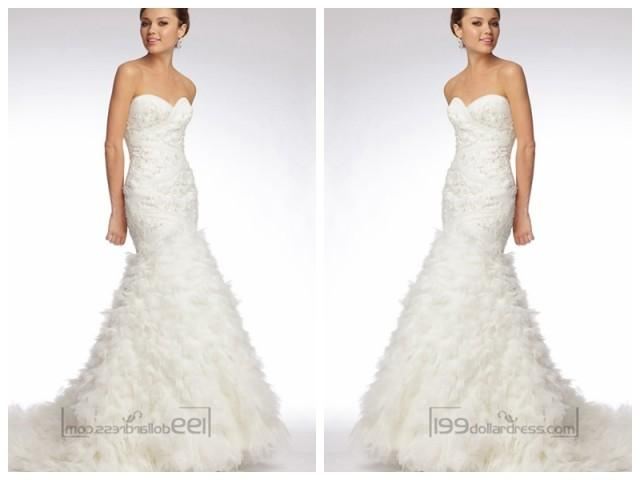wedding photo - Trumpet Strapless Sweetheart Embroidered Lace and Tulle Over Silky Taffeta Wedding Dresses