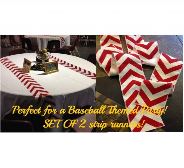 """wedding photo - Baseball Themed Red Chevron Modern Wedding Table Runner - set of 2 4"""" wide by your choice of length Chevron - Wedding or Party runners"""