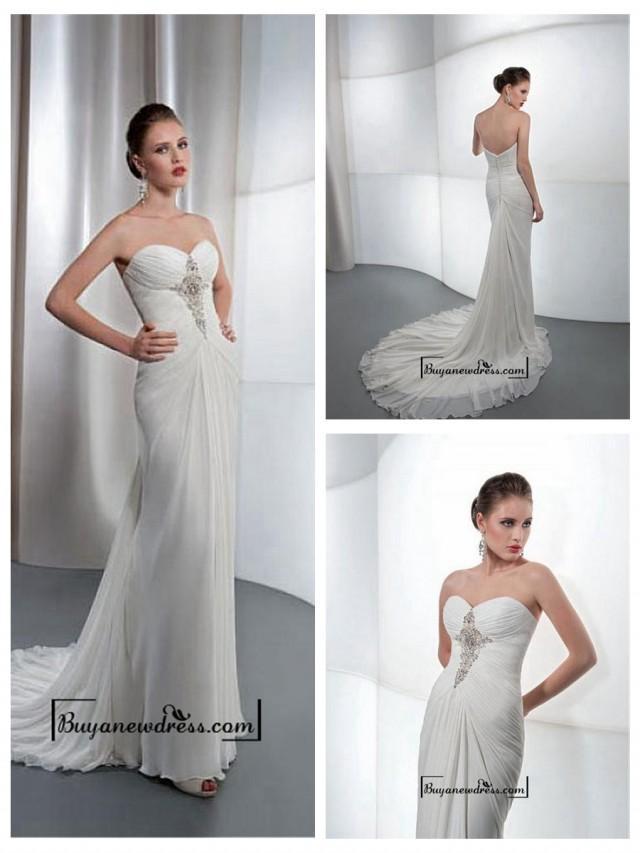 wedding photo - Amazing Chiffon & Satin Sheath Sweetheart Neck Wedding Dress With Beaded Lace Appliques