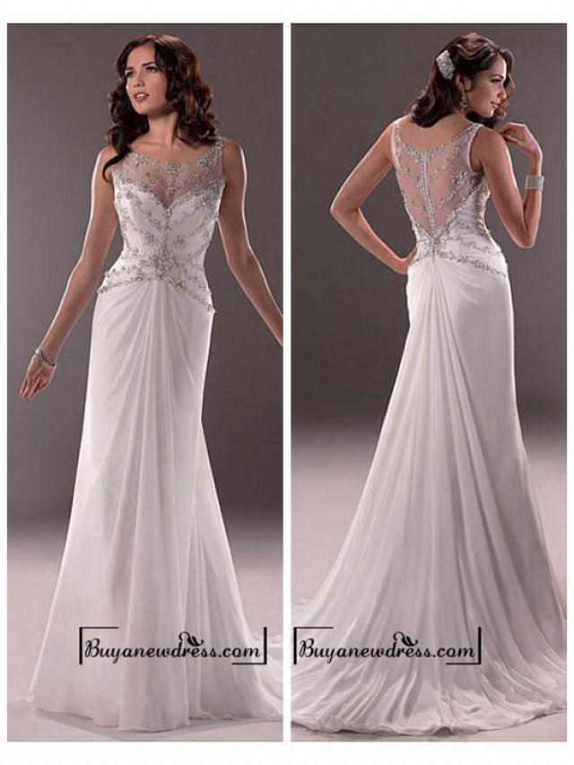 wedding photo - Amazing Chiffon & Tulle & Satin Sheath Illusion Bateau Neck Natural Waistline Wedding Dress