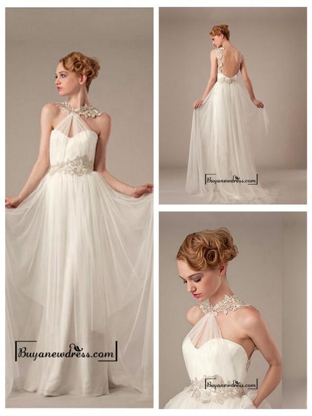 Amazing glamorous tulle satin sheath halter neckline for Different necklines for wedding dresses