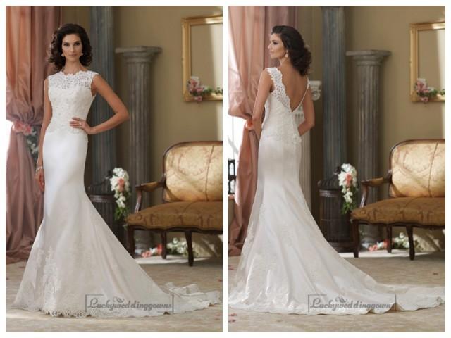 wedding photo - Cap Sleeves A-line Illusion Bateau Neckline Wedding Dresses with Deep V-back