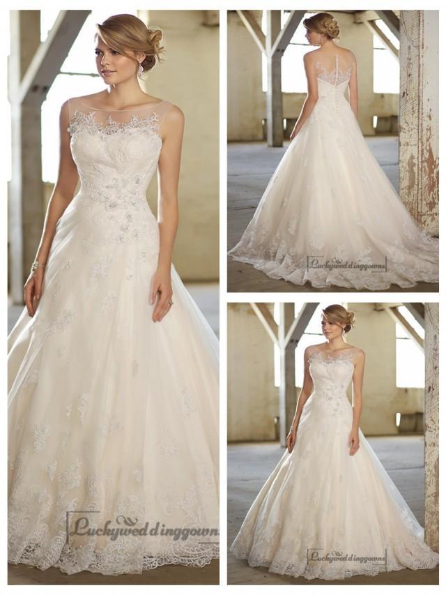 wedding photo - Stunning A-line Illusion Neckline & Back Lace Wedding Dresses