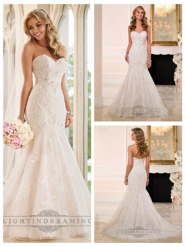 wedding photo - Strapless Sweetheart Fit and Flare Crystals Beading Lace Wedding Dresses