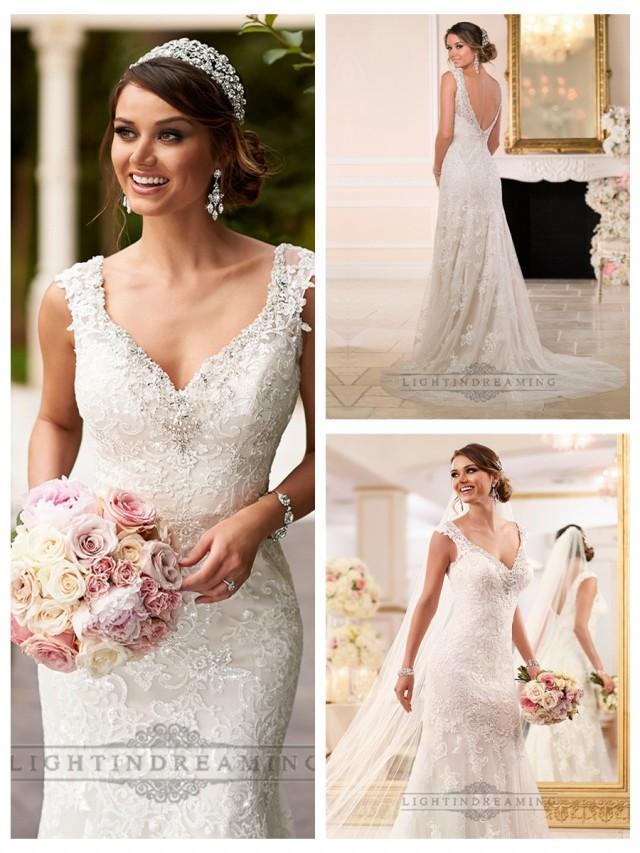 wedding photo - Diamante Adorn Sweetheart Straps Lace Wedding Dresses with V-back