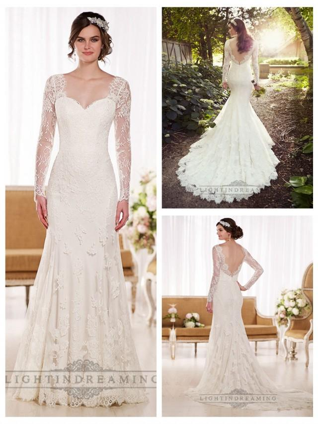 wedding photo - Illusion Long Sleeves A-line Lace Wedding Dresses with V-back