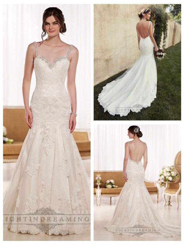 wedding photo - Beading Straps Sweetheart Fit and Flare Lace Wedding Dresses with Low Back
