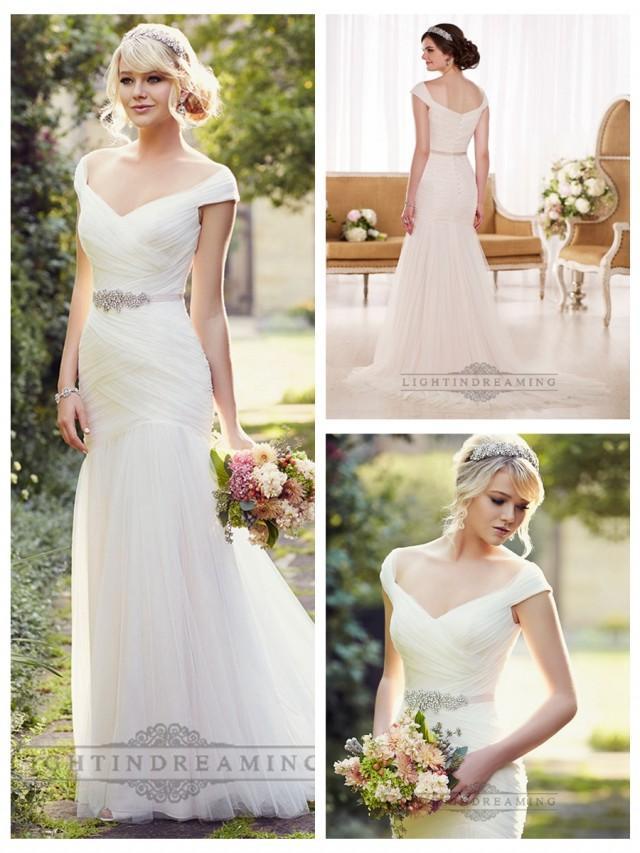 wedding photo - Cap Sleeves Layers of Soft Ruching Wedding Dresses