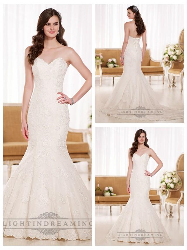 wedding photo - Stunning Strapless Sweetheart Fit and Flare Lace Wedding Dresses