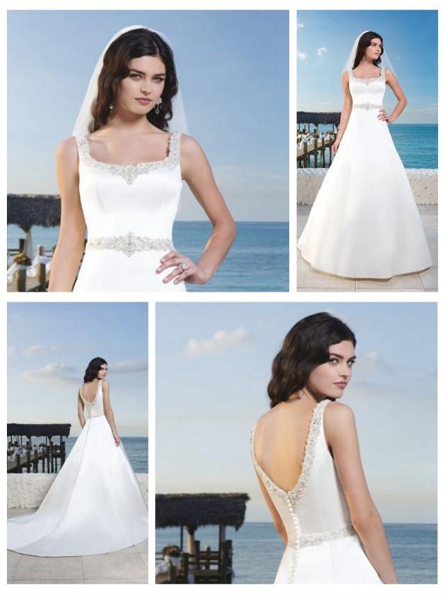 wedding photo - Matte Satin A-Line Wedding Gown With Beaded Trim Around Scoop Tank Neckline