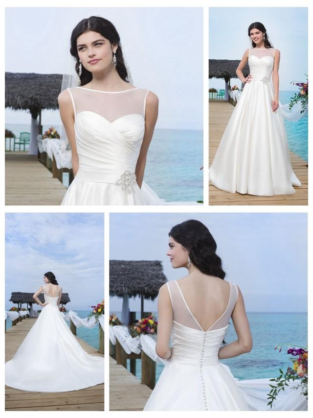 wedding photo - Circular Satin Sabrina Illusion Satin Trim Neckline And Drop Waistline Ball Gown