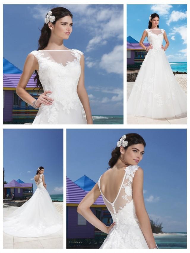 wedding photo - Satin Trim Illusion Sabrina Neckline And Drop Waist Line Tulle Wedding Gown