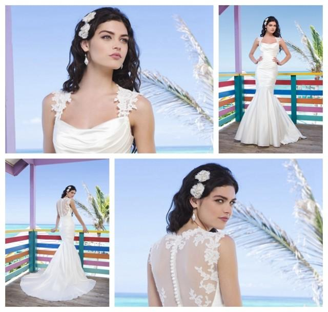 wedding photo - Lace Cap Sleeves Charmeuse Asymmetric Draped Mermaid Wedding Gown