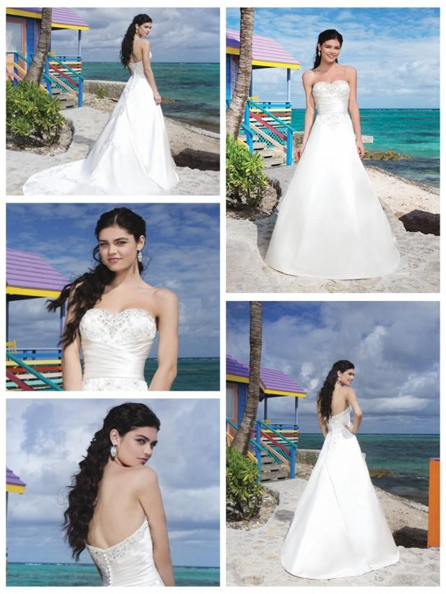 wedding photo - Regal Satin And Embroidered Lace A-Line Wedding Gown With A Beaded Sweetheart Neckline