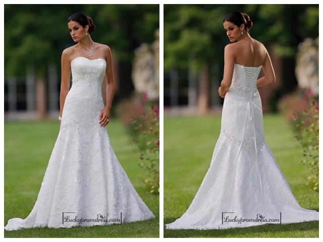 wedding photo - Beautiful Elegant Lace A-line Sweetheart Wedding Dress In Great Handwork