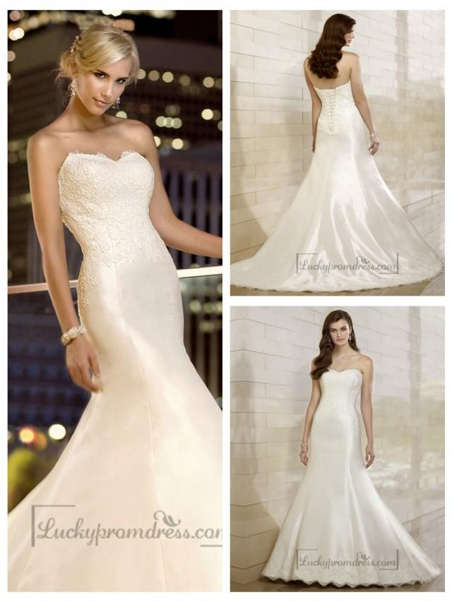 wedding photo - Elegant Fit and Flare Lace Appliques Sweetheart Wedding Dresses