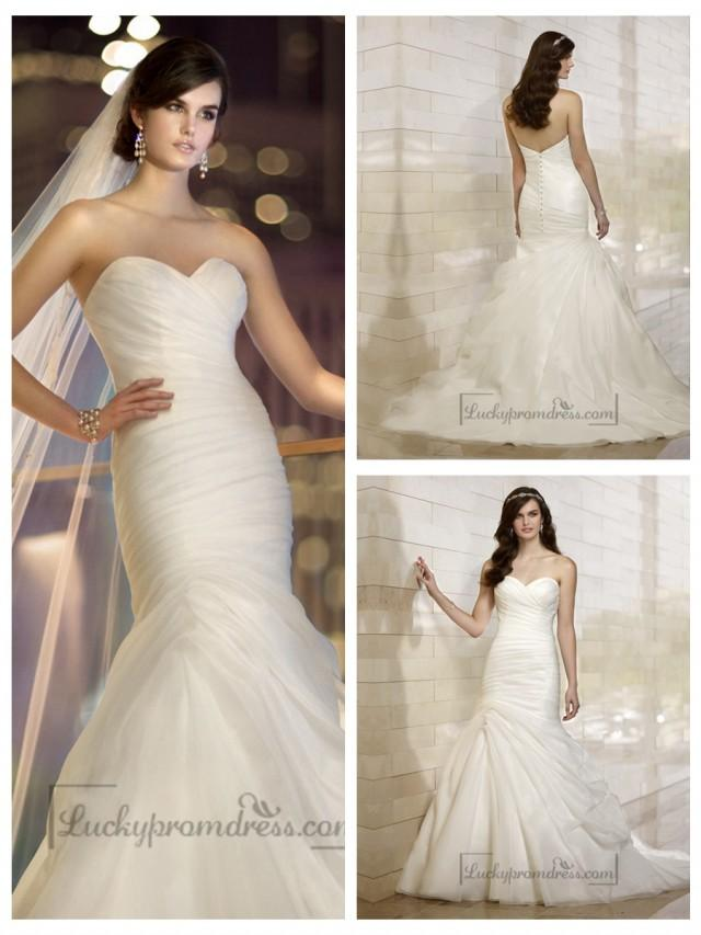 wedding photo - Stunning Organza Sweetheart Ruched Bodice Simple Wedding Dresses