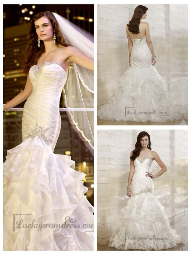 wedding photo - Trumpet Mermaid Beaded Sweetheart Dreaped Bodice Wedding Dresses with Layered Skirt