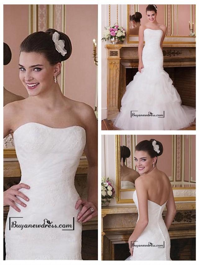 wedding photo - Attractive Tulle & Satin Mermaid Strapless Dropped Waist Wedding Dress