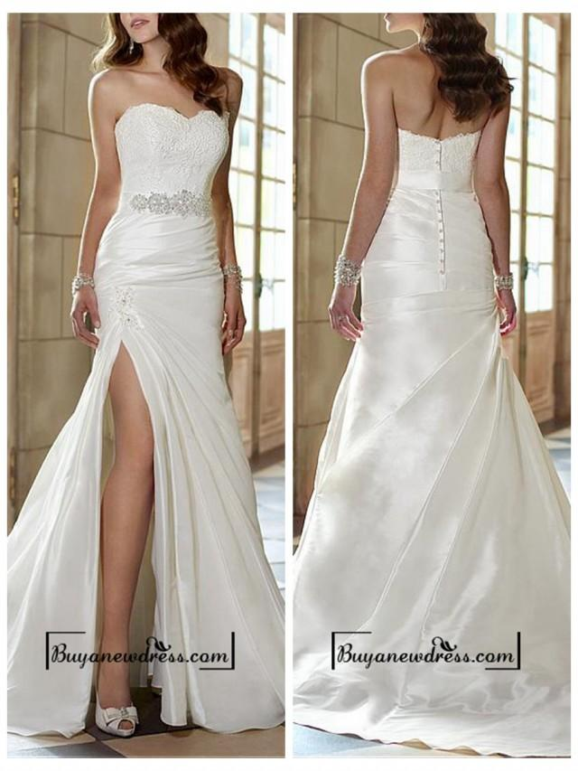 wedding photo - Attractive Taffeta Sheath Sweetheart Neckline Natural Waist Slit Floor Length Wedding Dress