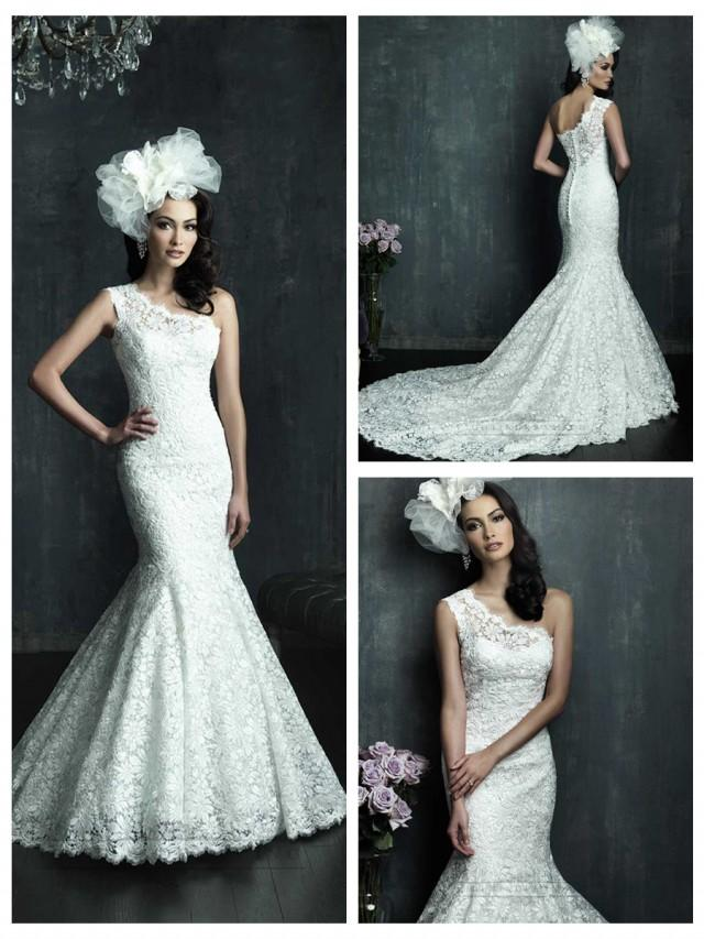 wedding photo - Cap Sleeve One-shoulder Lace Appliques Mermaid Wedding Dresses