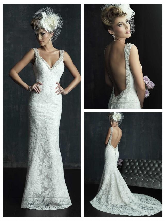 wedding photo - Beaded Straps Plunging Neckline Wedding Dresses with Low Back