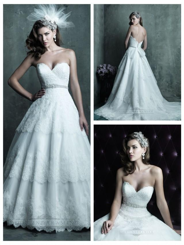 wedding photo - Strapless Sweetheart Lace Layered Ball Gown Wedding Dresses