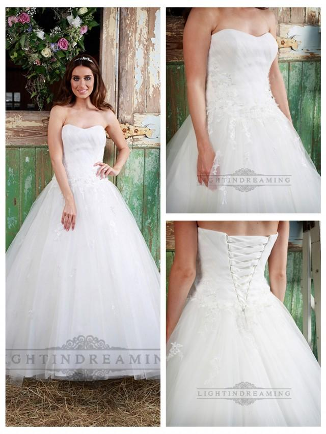wedding photo - Strapless Sweetheart A-line Ball Gown Wedding Dress