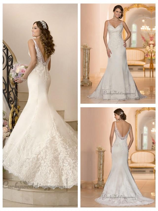 wedding photo - Elegant Fit and Flare Illusion Straps Wedding Dresses with Deep V-back