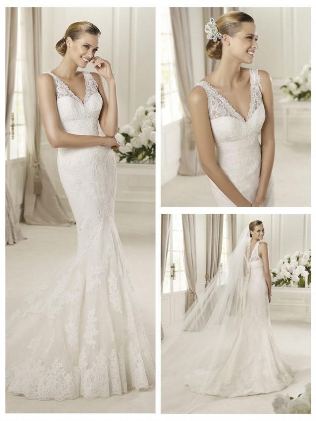 Embroidery elegent v neck and v back lace mermaid wedding for Mermaid v neck wedding dress
