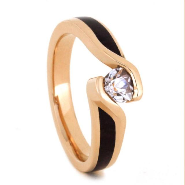 wedding photo - Wood Engagement Ring in 14k Rose Gold with Tension Set Diamond