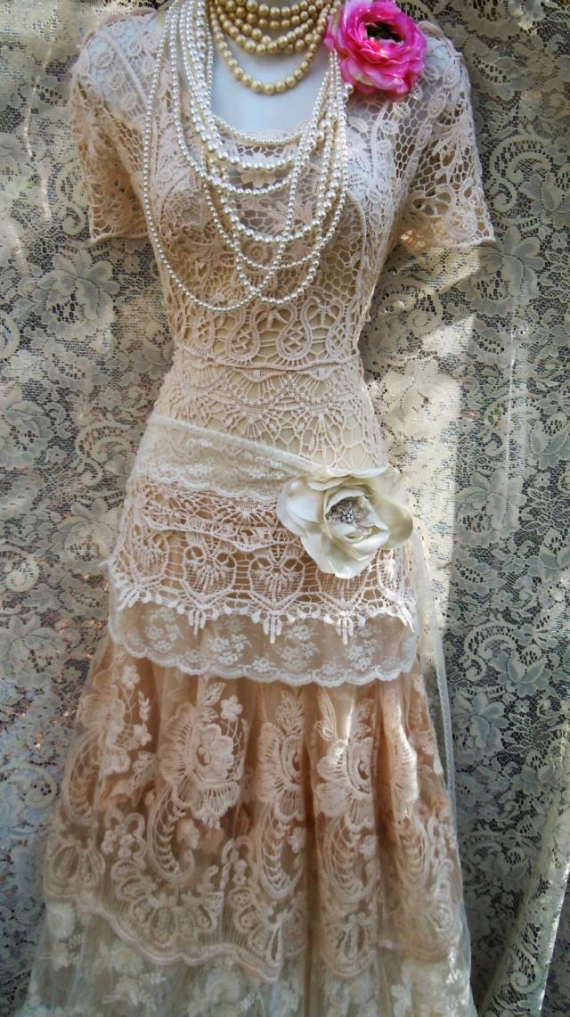 Boho lace dress wedding cream crochet tulle tiered flapper for Etsy dresses for weddings
