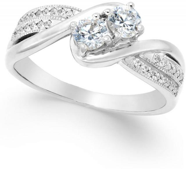 Diamond Two Stone Engagement Ring 1 2 Ct T w In 14k Gold 14k White Gol