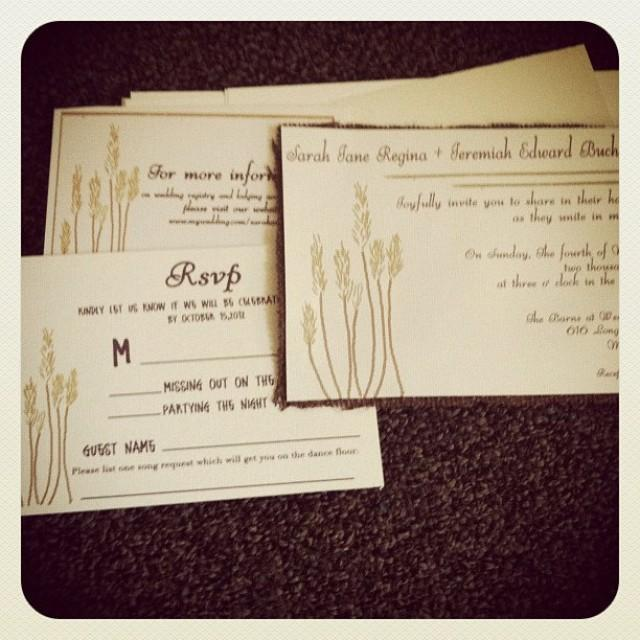 Rustic Wheat Wedding Invitation With Burlap And