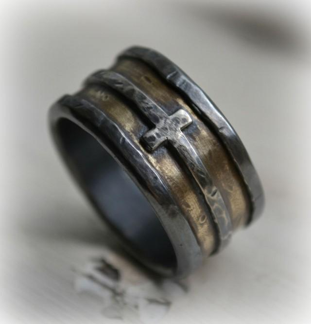Rubber Band Wedding Rings >> Mens Wedding Band - Rustic Fine Silver Brass And Sterling ...