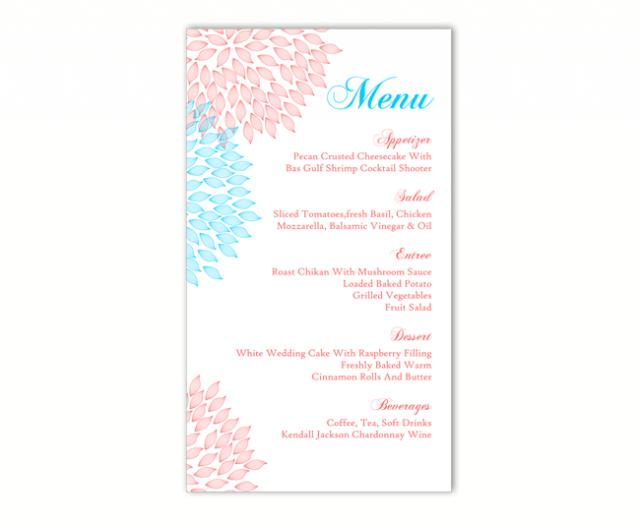 wedding menu template diy menu card template editable text word file instant download pink menu. Black Bedroom Furniture Sets. Home Design Ideas